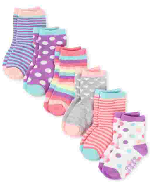 Toddler Girls Rainbow Dot Midi Socks 6-Pack