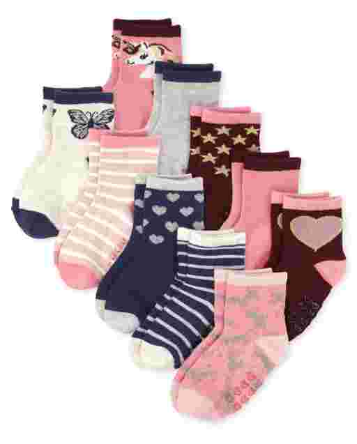 Toddler Girls Midi Socks 10-Pack