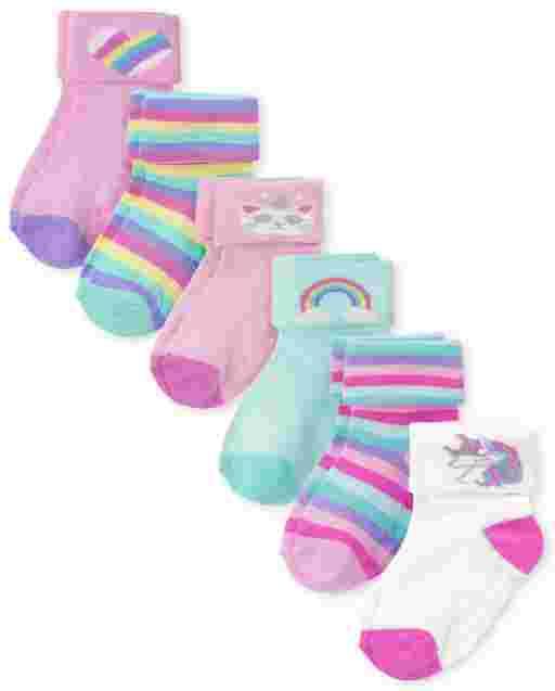 Toddler Girls Rainbow Turn Cuff Socks 6-Pack