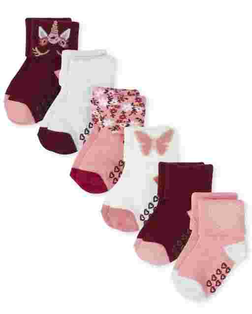 Toddler Girls Butterfly Turn Cuff Socks 6-Pack