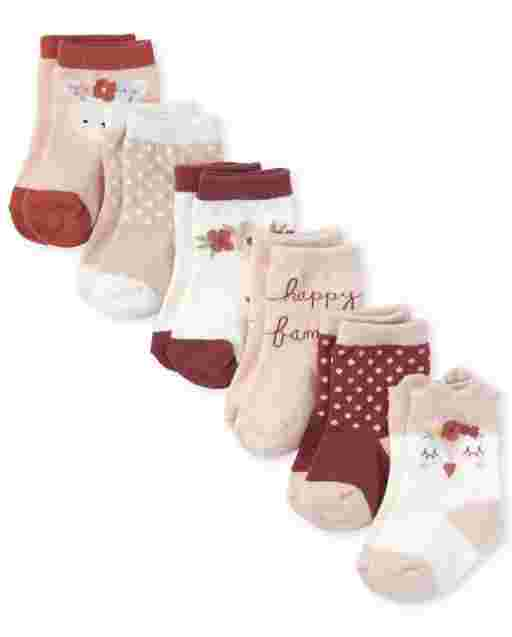 Baby Girls Owl Midi Socks 6-Pack