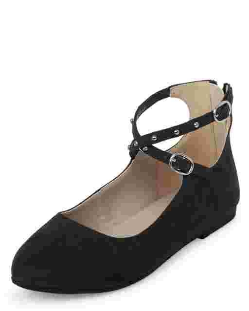 Girls Studded Faux Suede Wrap Ballet Flats