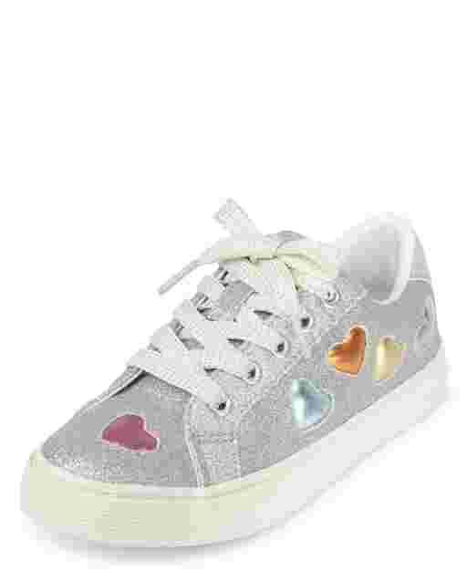 Girls Glitter Heart Low Top Sneakers