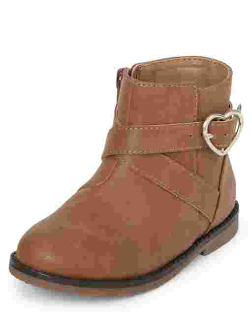 Toddler Girls Heart Buckle Booties