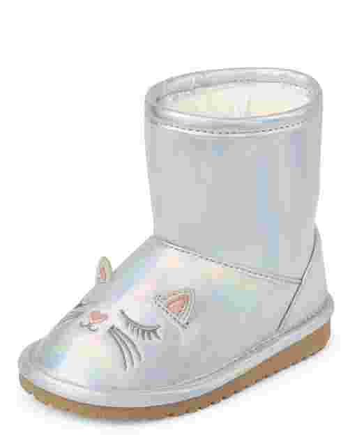Toddler Girls Iridescent Cat Boots