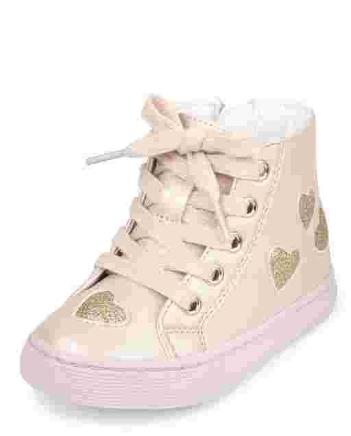 Toddler Girls Glitter Heart Hi Top Sneakers