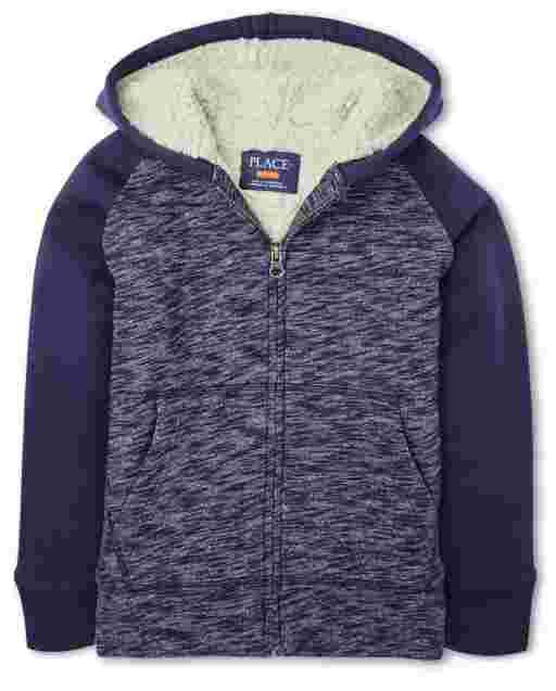 Boys Long Raglan Sleeve Marled Sherpa Lined Fleece Zip Up Hoodie