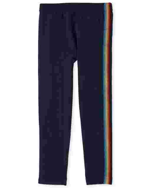 Girls Rainbow Side Stripe Knit Fleece Lined Leggings