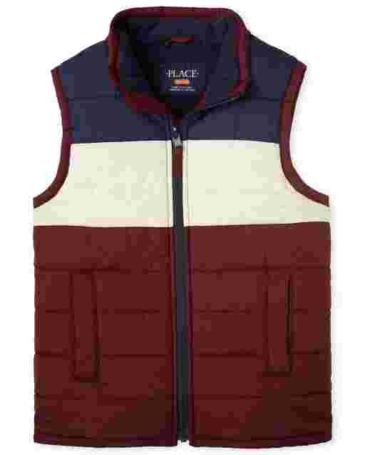 Boys Sleeveless Colorblock Puffer Vest