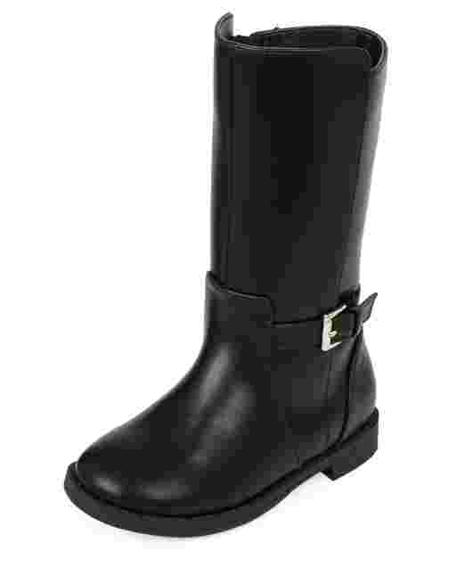 Toddler Girls Faux Leather Tall Riding Boots