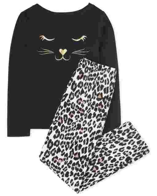 Girls Long Sleeve Leopard Cat Pajamas