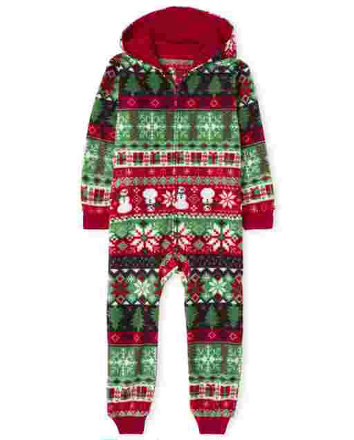 Unisex Kids Matching Family Christmas Long Sleeve Christmas Fairisle Fleece Hooded One Piece Pajamas