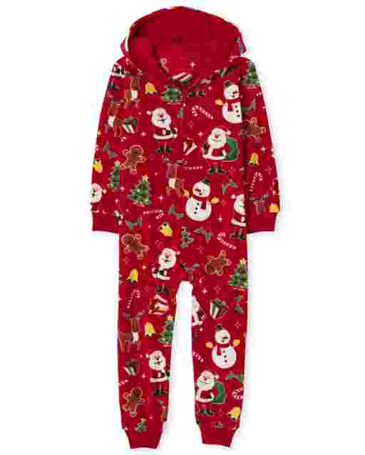 Unisex Kids Matching Family Christmas Long Sleeve Christmas Crew Fleece Hooded One Piece Pajamas