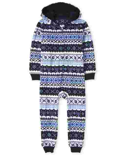 Unisex Kids Matching Family Long Sleeve Hanukkah Fairisle Fleece Hooded One Piece Pajamas