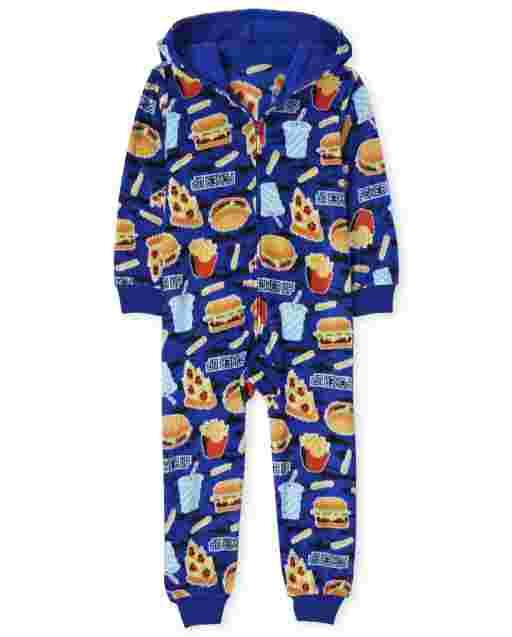 Boys Long Sleeve Snacks Print Fleece Hooded One Piece Pajamas