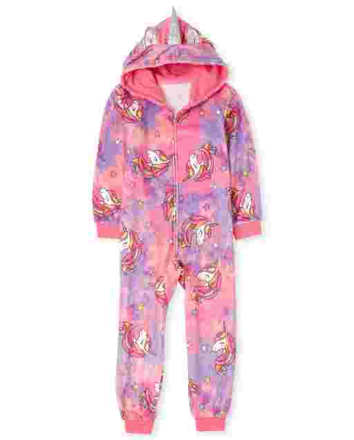 Girls Mommy And Me Long Sleeve Unicorn Tie Dye Print Fleece Hooded Matching One Piece Pajamas