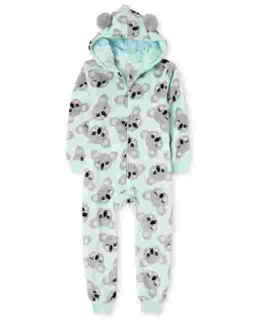Girls Long Sleeve Koala Print Fleece Hooded One Piece Pajamas