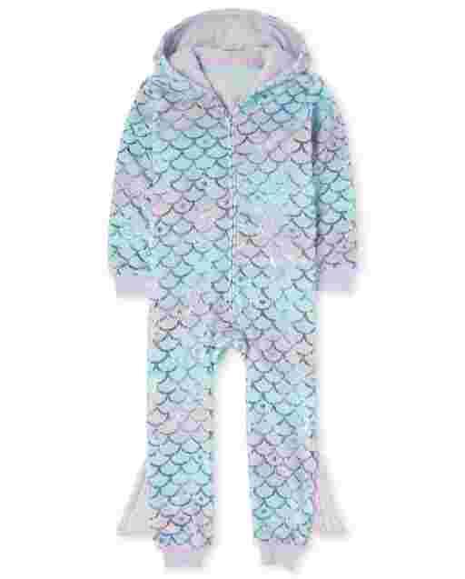 Girls Long Sleeve Mermaid Scales Ombre Print Fleece Hooded One Piece Pajamas