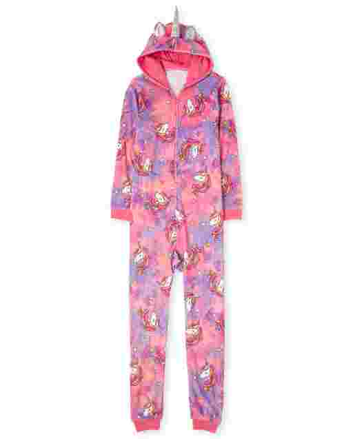 Womens Mommy And Me Long Sleeve Unicorn Tie Dye Print Fleece Hooded Matching One Piece Pajamas