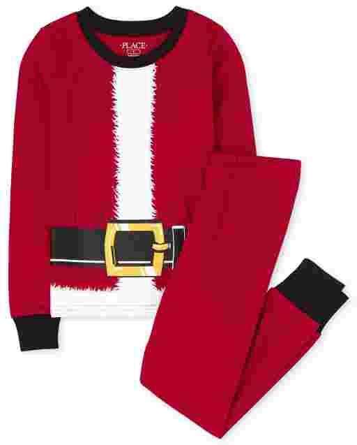 Unisex Kids Matching Family Christmas Long Sleeve Santa Suit Snug Fit Cotton Pajamas
