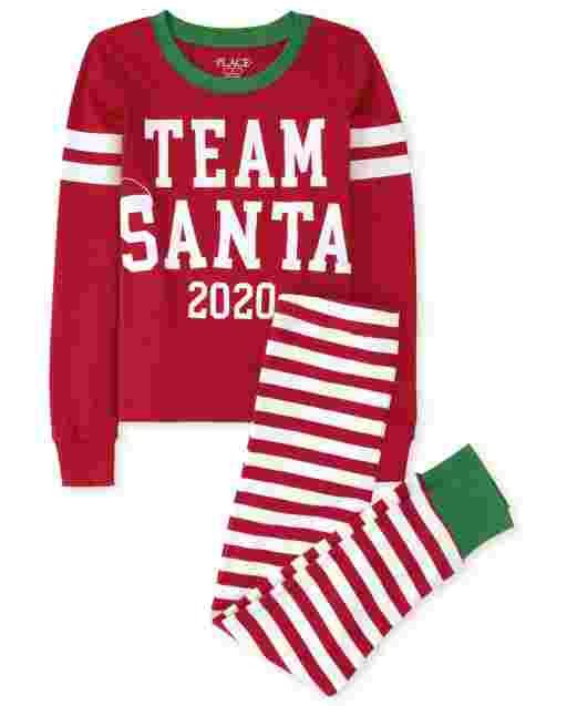 Unisex Kids Matching Family Christmas Long Sleeve Team Santa Snug Fit Cotton Pajamas