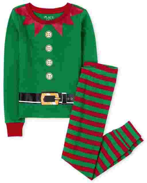 Unisex Kids Matching Family Christmas Long Sleeve Elf Snug Fit Cotton Pajamas