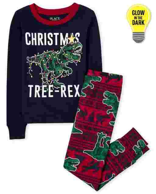 Boys Dad And Me Christmas Long Sleeve Glow In The Dark Christmas Tree-Rex Snug Fit Cotton Pajamas