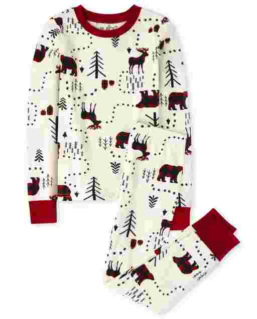 Unisex Kids Matching Family Christmas Long Sleeve Winter Forest Snug Fit Cotton Pajamas