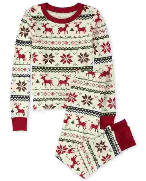 Unisex Kids Matching Family Christmas Long Sleeve Reindeer Fairisle Snug Fit Cotton Pajamas