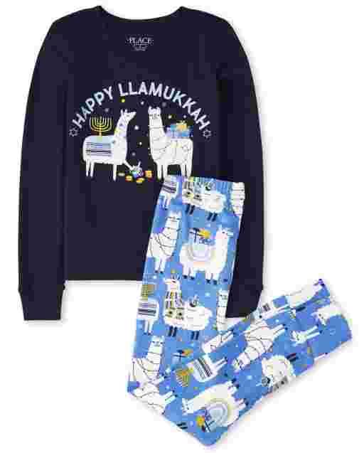 Unisex Kids Matching Family Long Sleeve Hanukkah Llama Snug Fit Cotton Pajamas