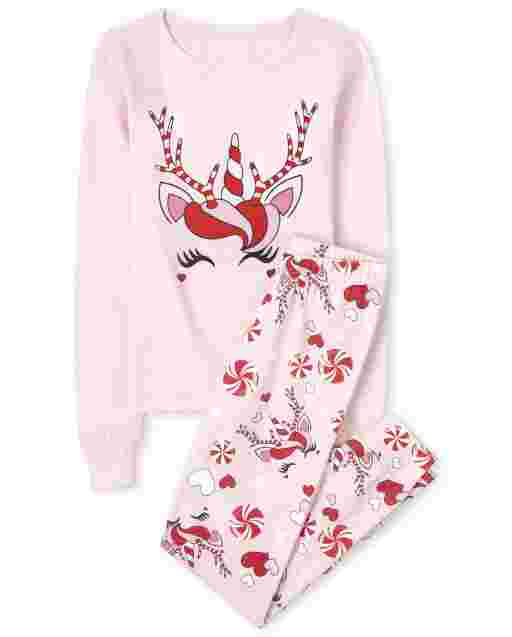 Girls Mommy And Me Christmas Long Sleeve Christmas Unicorn Snug Fit Cotton Matching Pajamas