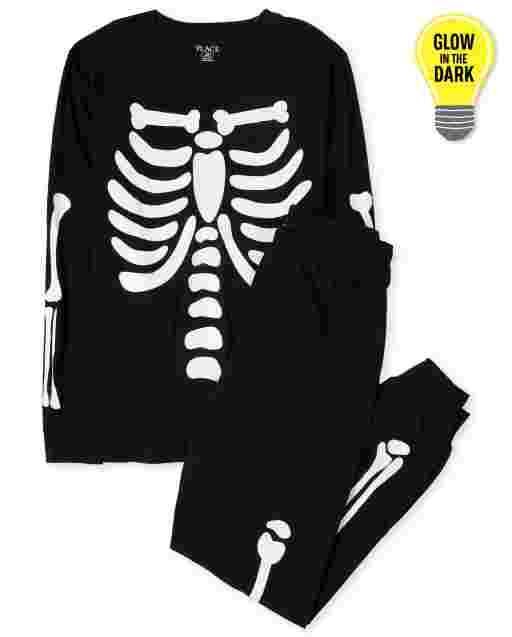 Unisex Adult Halloween Long Sleeve Glow In The Dark Candy Skeleton Cotton Pajamas