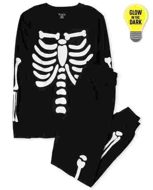 Unisex Adult Halloween Long Sleeve Glow In The Dark Candy Skeleton Cotton Pajamas