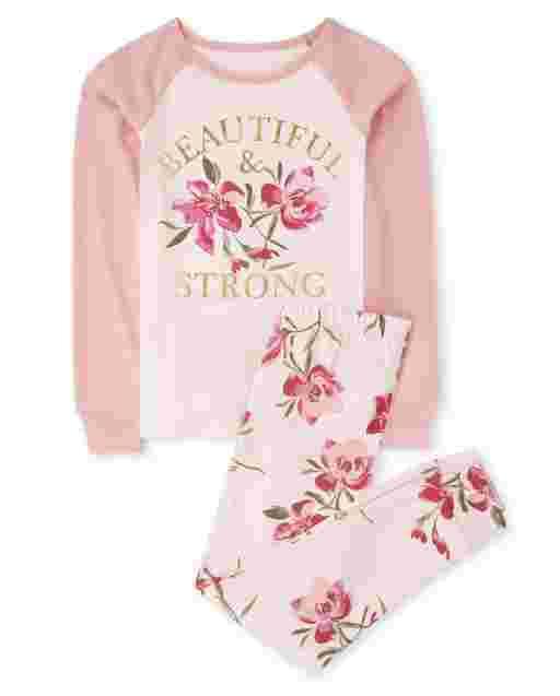 Girls Long Raglan Sleeve 'Beautiful & Strong' Floral Print Snug Fit Cotton Pajamas