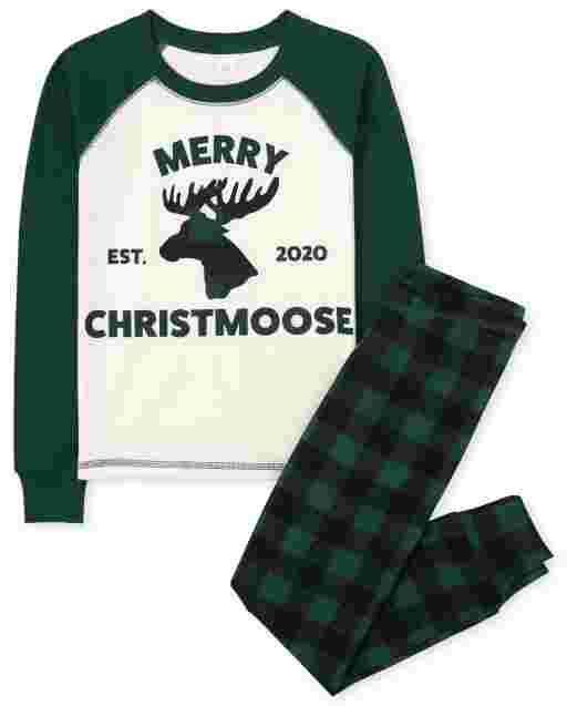 Unisex Kids Matching Family Christmas Long Raglan Sleeve Christmas Moose Snug Fit Cotton Pajamas