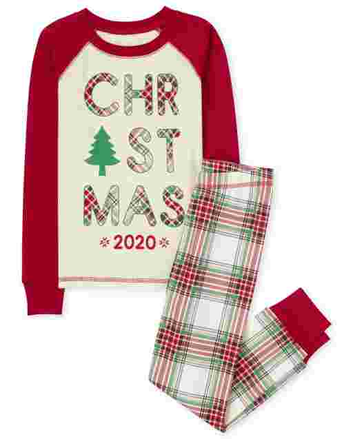 Unisex Kids Matching Family Christmas Long Raglan Sleeve Christmas Tartan Snug Fit Cotton Pajamas