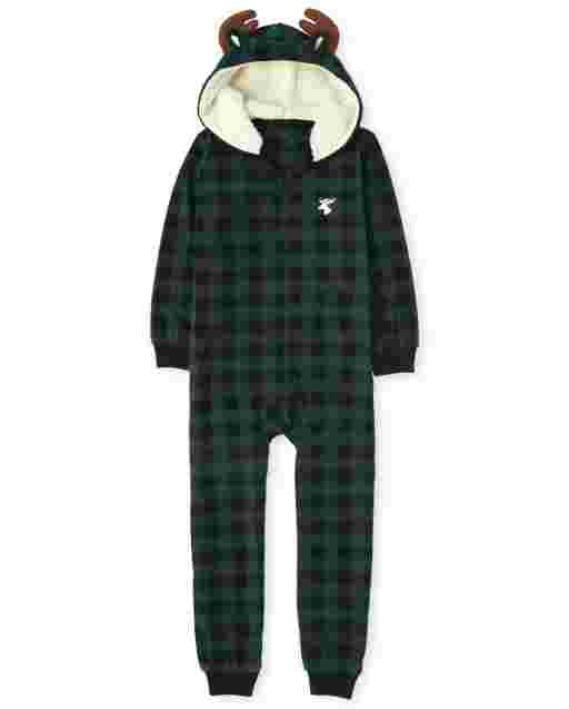 Unisex Kids Matching Family Christmas Long Sleeve Moose Buffalo Plaid Fleece Hooded One Piece Pajamas