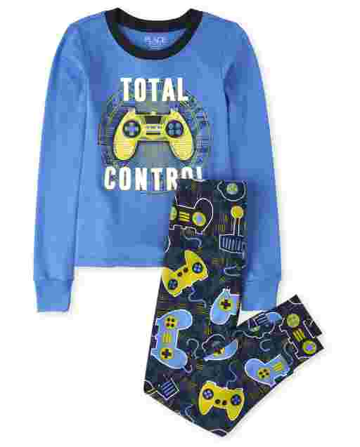 Boys Long Sleeve Glow In The Dark 'Total Control' Video Game Snug Fit Cotton Pajamas