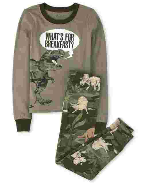 Boys Long Sleeve Dino 'What's For Breakfast' Snug Fit Cotton Pajamas