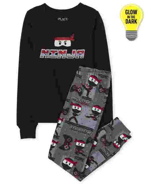 Boys Dad And Me Long Sleeve Glow In The Dark 'Junior Ninja' Ninja Matching Snug Fit Cotton Pajamas