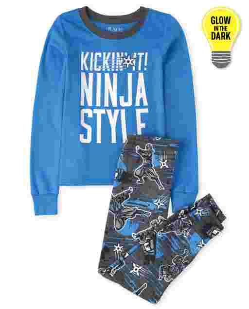 Boys Long Sleeve Glow In The Dark 'Kickin It Ninja Style' Snug Fit Cotton Pajamas