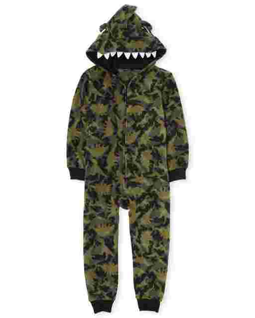 Boys Matching Family Long Sleeve Dino Fleece Hooded One Piece Pajamas