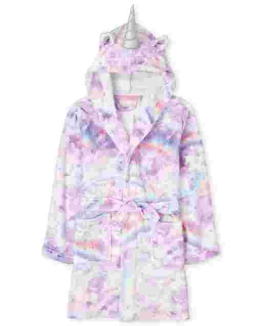 Girls Unicorn Cloud Fleece Hooded Robe