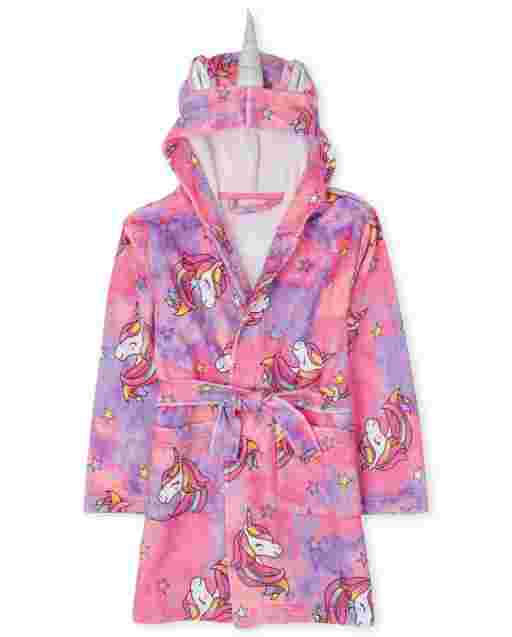 Girls Mommy And Me Long Sleeve Unicorn Tie Dye Print Fleece Hooded Matching Robe