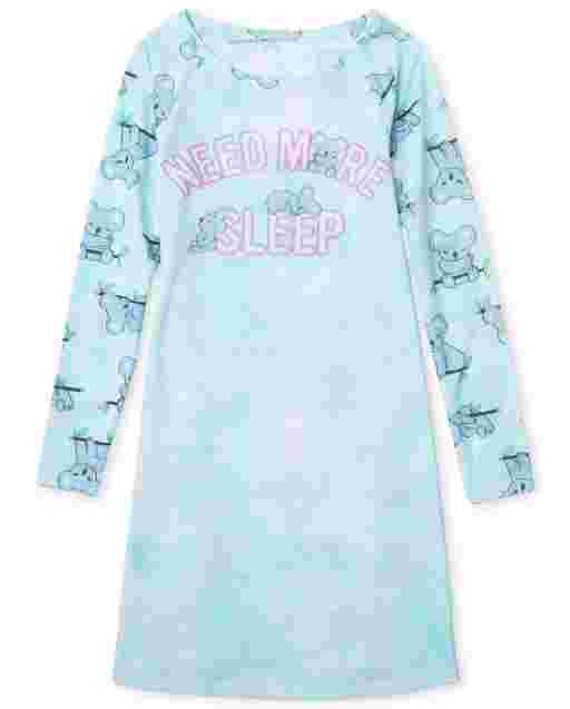 Girls Long Sleeve 'Today Is Canceled' Koala Nightgown