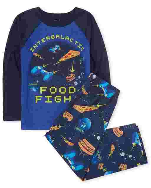 Boys Long Raglan Sleeve 'Intergalactic Food Fight' Space Pajamas