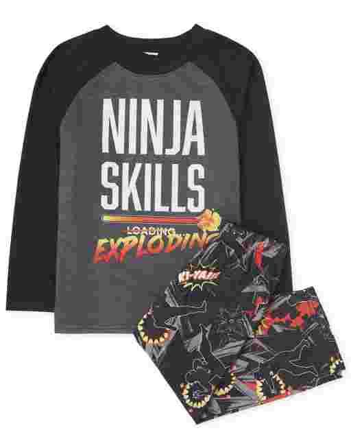 Boys Long Raglan Sleeve 'Ninja Skills Exploding' Pajamas