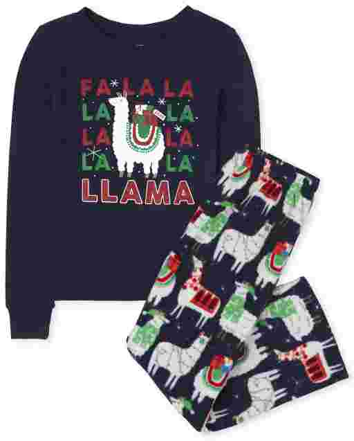 Unisex Kids Matching Family Long Sleeve Festive Llama Snug Fit Cotton Top And Fleece Pants Pajamas