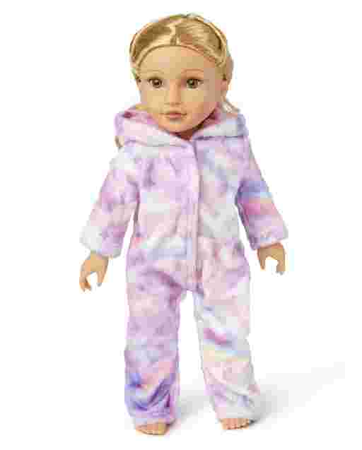 Doll Mommy And Me Long Sleeve Unicorn Cloud Fleece Matching One Piece Pajamas