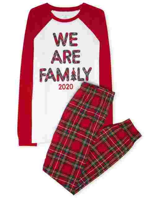 Unisex Adult Matching Family Christmas Long Raglan Sleeve Family Tartan Cotton Pajamas